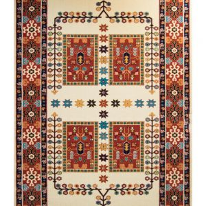 فرش ماشینی مدرن فانتزی ساوین – پازیریک – قشقایی – قالیچه (کد : ۱۰۶۵۰)