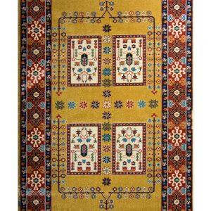 فرش ماشینی مدرن فانتزی ساوین – قشقایی عسلی – ۱/۵ در ۲/۲۵ (کد : ۱۰۶۵۵)