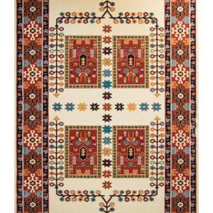 فرش ماشینی مدرن فانتزی ساوین – قشقایی کرم – ۱/۵ در ۲/۲۵ (کد : ۱۰۶۵۰)