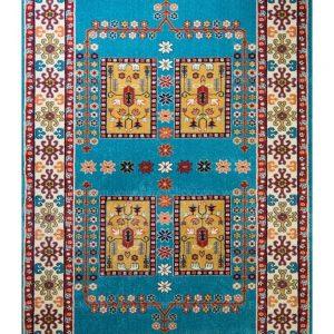 فرش ماشینی مدرن فانتزی ساوین – قشقایی آبی – ۱/۵ در ۲/۲۵ (کد : ۱۰۶۴۰)
