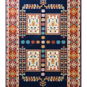 فرش ماشینی مدرن فانتزی ساوین – قشقایی سرمه ای – ۱/۵ در ۲/۲۵ (کد : ۱۰۶۴۵)