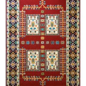 فرش ماشینی مدرن فانتزی ساوین – قشقایی لاکی – ۱/۵ در ۲/۲۵ (کد : ۱۰۶۶۰)