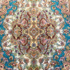دستبافت ۵۵ رج طرح رضایی چله ابریشم کف ابریشم تبریز