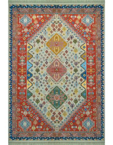 فرش ماشینی فرش رادین طرح گبه آباده ۲ رنگ زمینه رزی