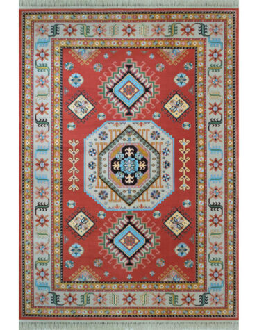 فرش ماشینی فرش رادین طرح گبه قزاق ۰۰۶۸ رنگ زمینه گوجه ای