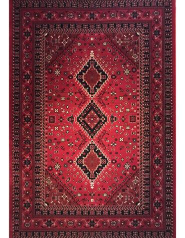 فرش ماشینی رادین اصفهان طرح بلوچ ۵ رنگ زمینه اناری