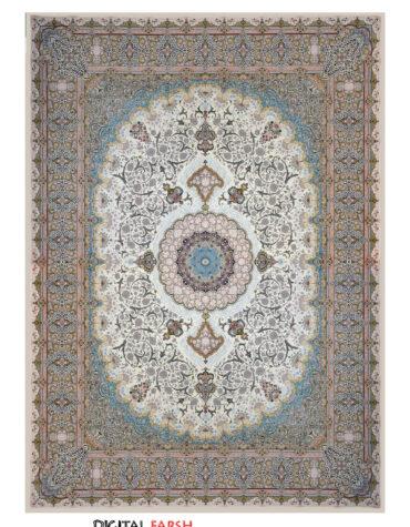 فرش ماهوت کویر طرح ۱۰۰۲۴ رنگ کرم
