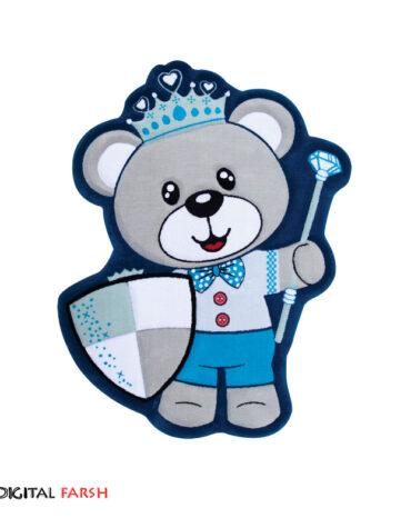 فرش کودک زرباف طرح خرس تاجدار
