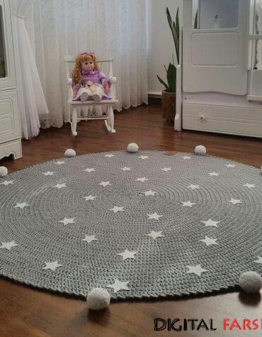 فرش دایره ای دستبافت مدرن راگ ایران طرح ستاره
