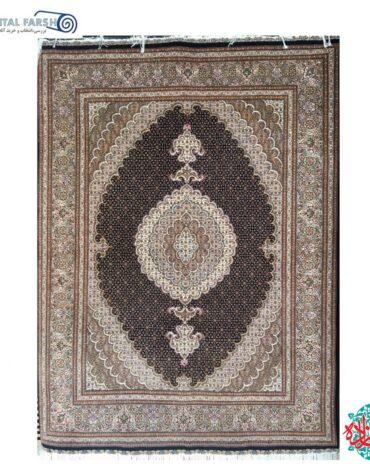 فرش دستبافت تبریز طرح ماهی گل ابریشم سرمه ای