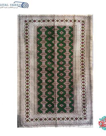 فرش دستبافت جرگلان ترکمنی چله ابریشم سبز
