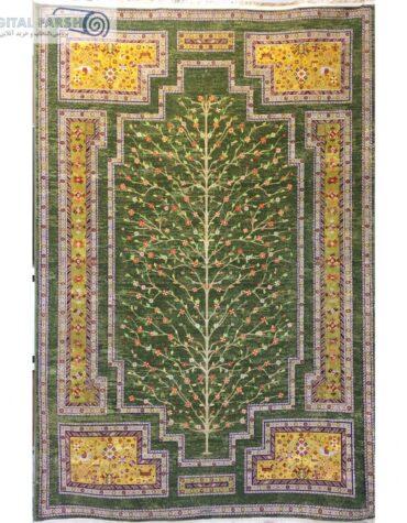 فرش مرینوس کاشان طرح گبه ۱۰۶ سبز