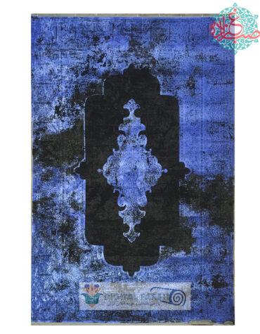 فرش خاطره طرح وینتیج کد ۱۰۲۲ آبی کاربنی