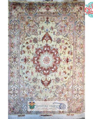 فرش دستبافت تبریزجفت قالیچه ۳متری علیا  گل ابریشم  چله ابریشم