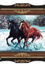 تابلو فرش اسب وحشي