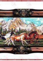تابلو فرش گله اسب ها