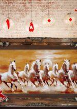 تابلو فرش گله اسب سفيد