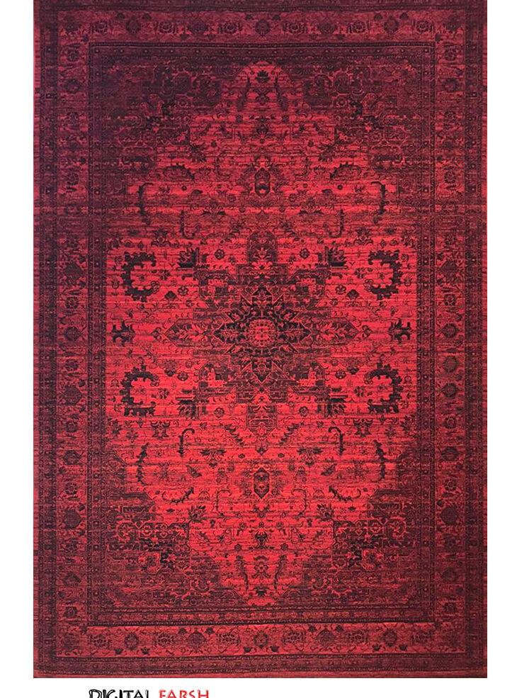 فرش ماشینی رادین طرح پتینه هریس رنگ زمینه اناری
