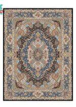 فرش ماشینی ستاره کویر یزد طرح هزار و یک شب کدsp-002 زمینه آبی