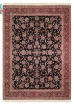 فرش  زمرد مشهد طرح افشان رنگ مدل گل درشت زمینه سورمه ای
