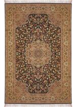 فرش ماشینی رادین اصفهان طرح گل رز رنگ زمینه قهوه ای