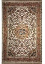 فرش ماشینی رادین اصفهان طرح گل رز رنگ زمینه صدفی