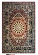 فرش ماشینی ستاره کویر یزد طرح A-011-1109 اخرایی