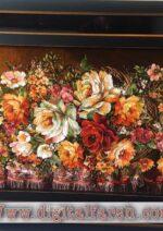 تابلو فرش دستبافت گل رز عرضی چله ابریشم گل ابریشم
