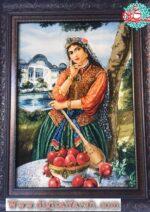 تابلو فرش دستباف دختر قاجاری طولی چله ابریشم گل ابریشم برجسته ۵۰رج