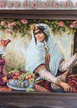 تابلو فرش دستباف دختر قاجاری عرضی  چله ابریشم گل ابریشم برجسته ۵۰رج