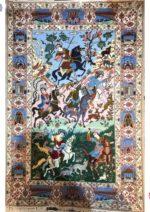 فرش دستبافت اصفهان طرح شکار گاه