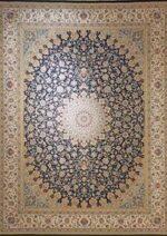 فرش ماشینی مشهد اردهال طرح ۱۲۰۵۴ رنگ سرمه ای