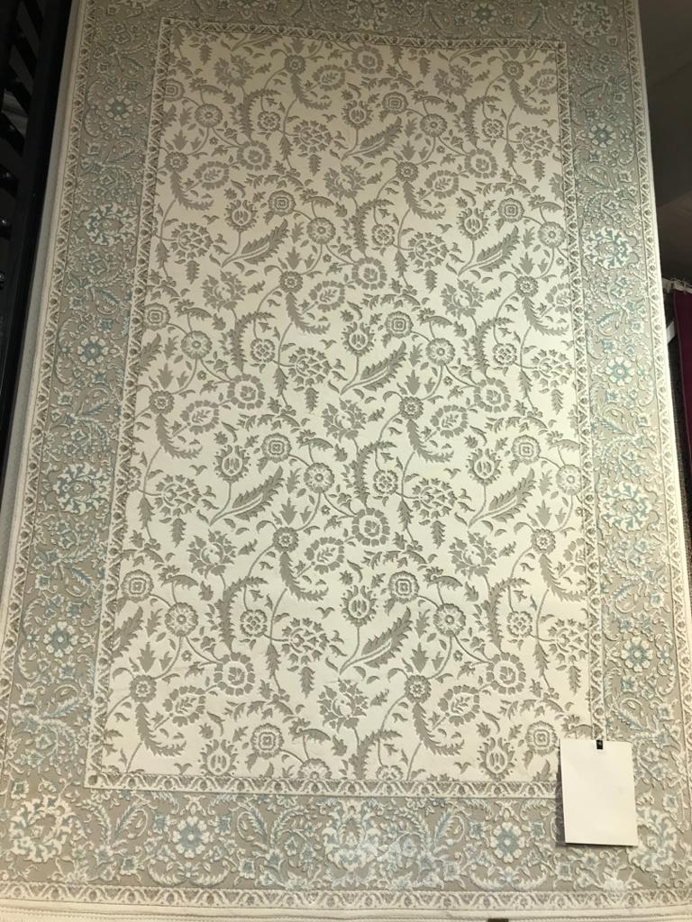 فرش مهیار دلیجان  ماوی ۰۱۰ کرم حاشیه آبی