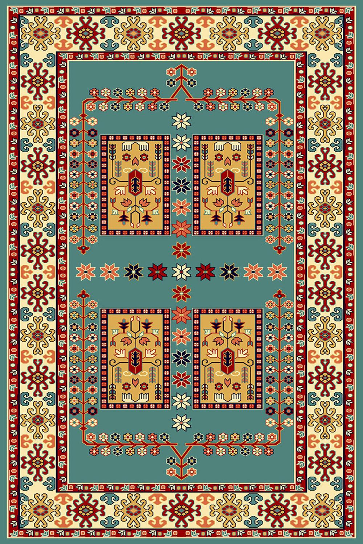 فرش ساوین طرح  قشقایی آبی