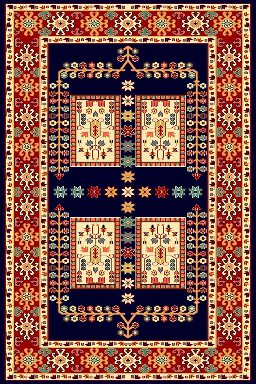 فرش ساوین طرح  قشقایی سرمه ای