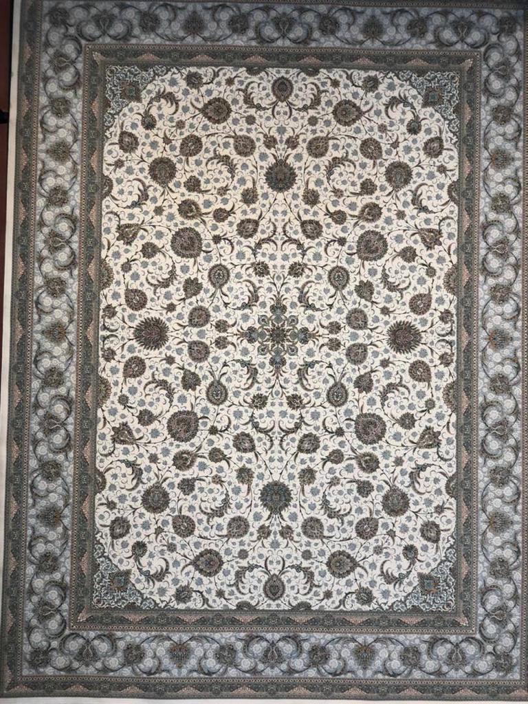 فرش ستاره کویر یزد ۱۵۰۰ شانه افشان کرم