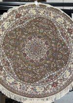 فرش دایره زمرد مشهد طرح ۱۴۰۰۳ زمینه گردویی
