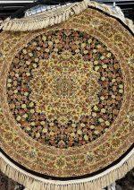 فرش دایره  رادین اصفهان طرح گل رز رنگ زمینه قهوه ای