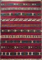 گلیم فرش  دستبافت ۱٫۵ متری جرگلانی خراسان شمالی رنگ قرمز
