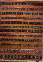 گلیم فرش  دستبافت ۱٫۵ متری جرگلانی خراسان شمالی رنگ نارنجی ۰۲