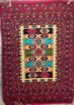 فرش دستبافت ۱٫۵ متری ترکمن تمام پشم طرح سرخ پوستی