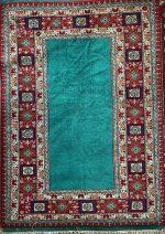 فرش دستبافت ۱٫۵ متری ترکمن تمام پشم گبه طرح ساده