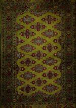 فرش دستبافت ۱٫۵ متری ترکمن تمام پشم سبز ریز بافت