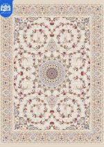 فرش بزرگمهر ۱۲۰۰ شانه برجسته کد ۱۵۱۱۴ کرم